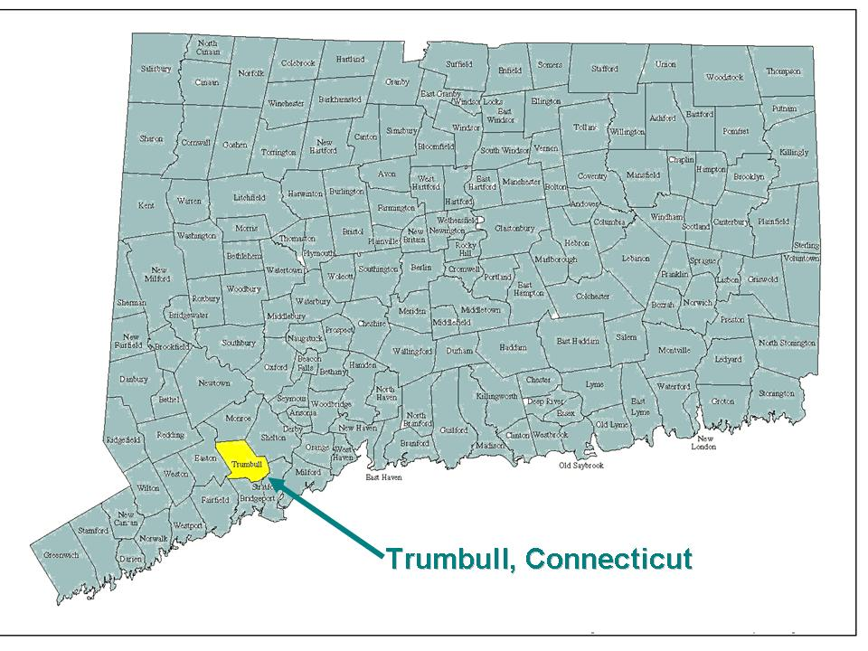 Connecticut Map with Trumbull Highlighted